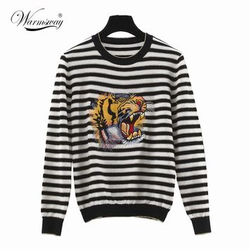 Luxury Brand Sweater Women 2017 High Quality Runway Sweater With Tiger Embroidery Striped Sweater Pullovers WS-123