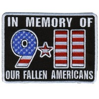 "Embroidered Iron On Patch - 9/11 In Memory of Our Fallen Americans 4"" x 3"" Patch"