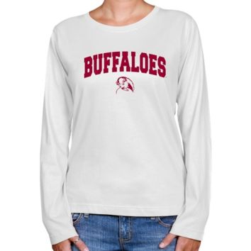 West Texas A&M Buffaloes Ladies White Logo Arch Long Sleeve Classic Fit T-shirt