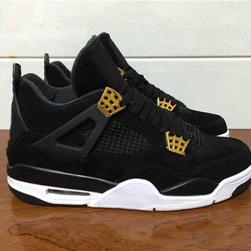(with box) Air Jordan retro 4 IV Royalty men Basketball shoes Suede Black Gold retro 4s Athletic sports shoes sneakers size 41-47