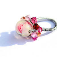 ring 'Spring' vintage wire wrapped lampwork pink pastel by rosSun