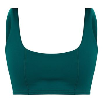 Forest Green Square Neck Zip Back Crop Top