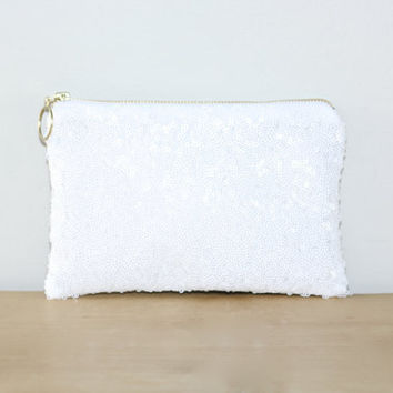 White Sequin and Copper Metallic Leather Clutch / Sparkly Bachelorette Favor / Fancy Bridesmaid Gift Bag - Almquist Design Studio