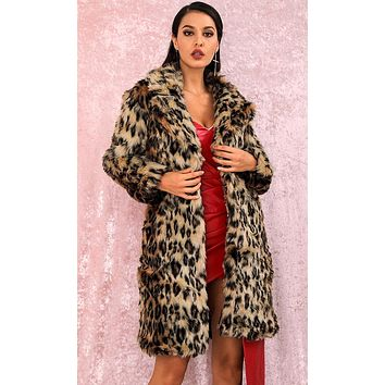 All About Attitude Leopard Print Animal Pattern Faux Fur Long Sleeve Coat Outerwear