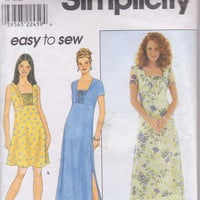 Sewing pattern for easy flared, summer dress, short sleeve or sleeveless misses size 12 14 16 Simplicity 8503 CUT and COMPLETE