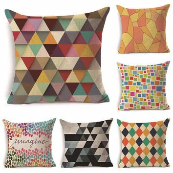 "Geometric Plaid Scale Patterns Throw Pillow Cover Decorative Massager Pillows Linen Zip DIY Home Decor Gift""18X18''"