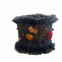 Jewelry - Bracelet - Women Fashion - Denim Cuff Bracelet - Birthday Day Gifts - OOAK - Embroidered Flower Bracelet - Hand Embroidered