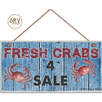 "CRAB Sign, Fresh Crabs 4 Sale, Weathered Beach Wood and Rope Border Graphic, Weatherproof, 5""x10"" Wall Plaque, Beach House, Ocean and Sea"