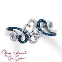 Open Hearts Waves Ring 1/15 ct tw Diamonds Sterling Silver