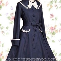 Dark Navy Turndown Collar Long Sleeves Cotton Lolita Coat/Jacket With Bow And Pocket