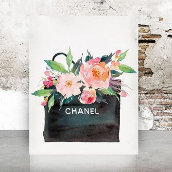 Wall Art Chanel Gift Bag Print Poster - Pop Art, French, Vintage, Art Deco Watercolor 640