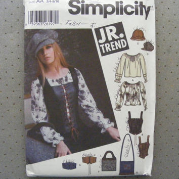 Simplicity sewing pattern 5799 for juniors size 3/4-9/10 pullover peasent top, corset vest, belt, hats and bags.
