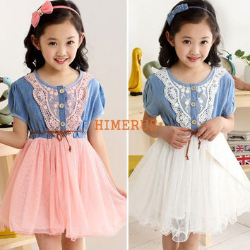 2014 Summer New Cute Girl Dress Children Dresses Children Lace Belt Denim Tulle Kids Clothing Lace Belt Denim Tulle Short Sleeve Princess Dress = 1930165956