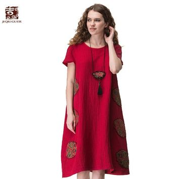 Jiqiuguer Women Flowers Embroidery Patch Cotton Linen Dress Vintage Plus size O-neck Short sleeve Red Summer vestidos G172Y041