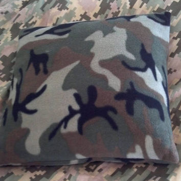 Camo, Military, Veteran, Patriotic, Fleece, pillow, Boys, Throw, Sham, Cover, Camouflage, soft, Made to Order