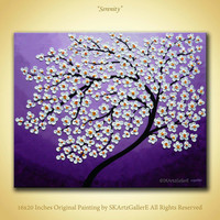 White blossom flowers Impasto Original artwork- Purple Canvas art- Home wall paintings Modern tree Landscape Contemporary Acrylic art decor