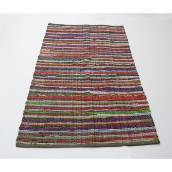 Medium Size Recycle Cotton Rainbow Chindi Rag Rug, Multicolor