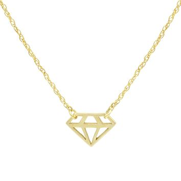 Amanda Rose 14k Yellow Gold Mini Cut out Diamond Shaped Necklace on a 16-18 in. Adjustable Chain