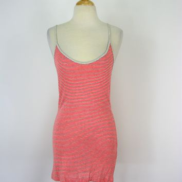 Whetherly String Coral & Grey Stripe Tank Dress  M NWT