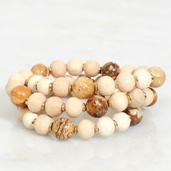 Marbled Wood Beaded Bracelet Light Brown