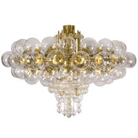 Spectacular Blown Glass and Gilt Brass Chandelier