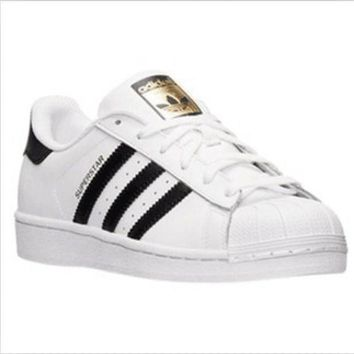 CREY9N Adidas' Fashion Shell-toe Flats Sneakers Sport Shoes White black golden