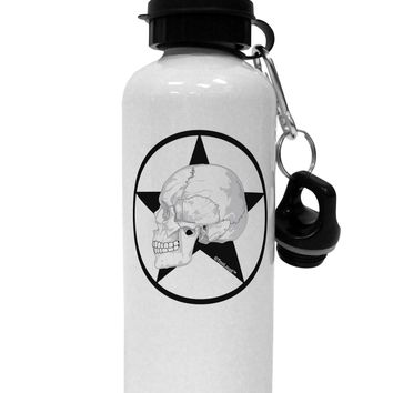 White Skull With Star Aluminum 600ml Water Bottle by TooLoud