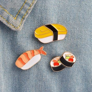 Enamel pins Cartoon Japanese Sushi Brooch set Metal Button Pin Denim Jacket Backpack T-shirt Collar Lapel Pin Badge Jewelry Gift