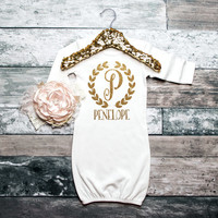 Baby Girl Gown PERSONALIZED Gown Baby Name Gown Newborn Gown Coming Home Outfit Baby Shower Gift Baby Girl Sleeper Glitter Gown #20