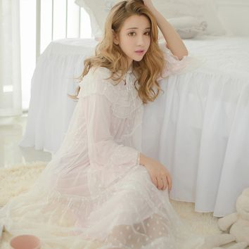 RenYvtil Japanese Lace Princess Sleepshirts Girls Modal Lining Sweet Flare Sleeve Women Long Nightgown Soft Comfortable Homewear