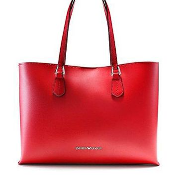Emporio Armani Women's Faux Leather Contrast Trim Tote Bag Red One Size