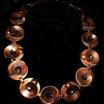 Renoir Copper Necklace Signed Circle Disc Link Style Mid Century Chunky 17 in Vintage