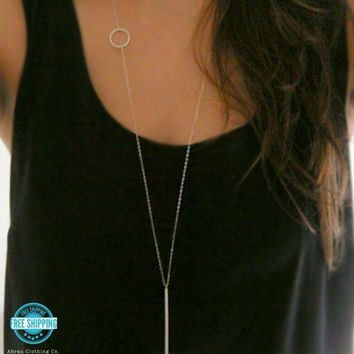 "Simple Minimalist Silver Dainty Circle Bar Layering 34"" Long Boho Necklace USA"