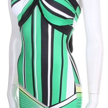 Mint Green White and Black Short Summer Halter Bodycon Dress Club Dress