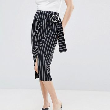 ASOS Pencil Skirt In Stripe with Large Buckle Detail at asos.com