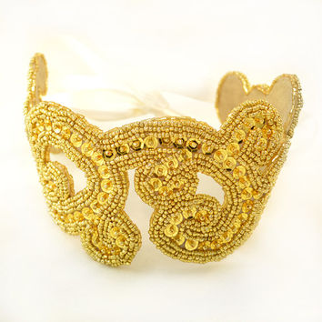 Golden Radiance Beaded Sequin Ribbon Headband Hair Accessory in Gold and Ivory