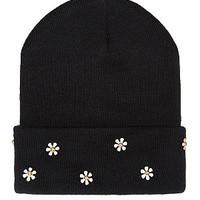 Black Raised Daisy Beanie