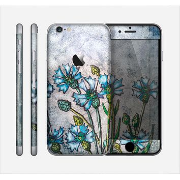 The Watercolor Blue Vintage Flowers Skin for the Apple iPhone 6
