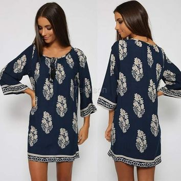 Vintage Style Women Casual Loose O Neck 3/4 Sleeve Print Summer Beach Dress 7_s Sv023244 = 1931500676