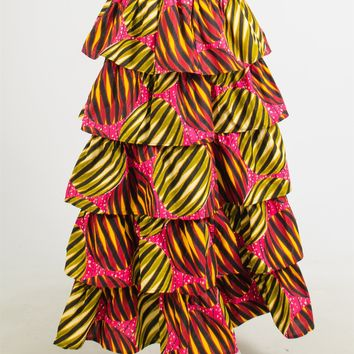NF 211 Authentic African Print Tier Skirt