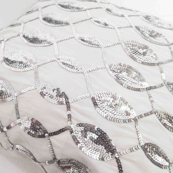 white pillow decorative pillow cushion cover pillow cover sequins pillow handmade silk pillow home decor throw pillow silver sequins