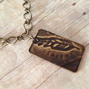 Blessed Etched Feather Necklace, Hand Stamped