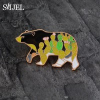 SMJEL Cartoon Polar Bear Brooch Enamel Pin Denim Jacket Lovely Animal Colorful Cactus Pattern Collar Lapel Pins Mama Jewelry