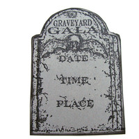 Graveyard Gala Tombstone Halloween Party Invitations Hand Stamped Set of 10