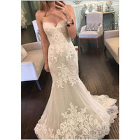 Mermaid Beautiful Sweetheart Lace 2016 Wedding Dresses Tulle Sheer Bridal Gowns Vestido De Noiva louisvuigon alibaba china