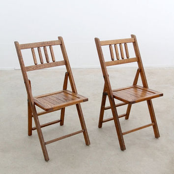 vintage oak folding chairs / slat wood school seats