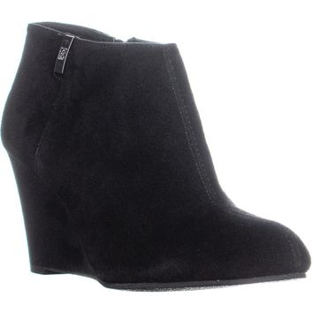 AK Anne Klein Trumble Wedge Ankle Booties, Black Suede, 10 US