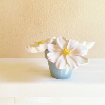 mothers day flowers,White Daisy Sculptures in Gray Pot, Flower Sculpture, Modern Floral arrangement, Desk accessory