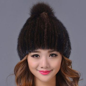 LMF9GW 33.9 Real Mink Fur Hat and Beanie Cap with Fox Fur Pom Pom Ball Woolen Knitted Cap Had made Warm Winter Women Hats Beanies