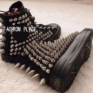 Studed Converse shoes converse all star studed shoes personality fashion stud shoes
